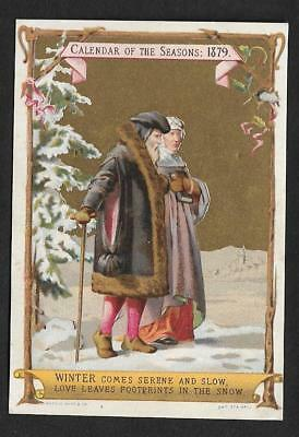 Victorian Calendar By Marcus Ward Christmas Scene Royal Birthdays Card 1879