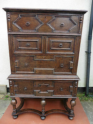 Antique Oak Chest Of Drawers, 4 Long Drawers, Jacobean Style, Chest On Chest.