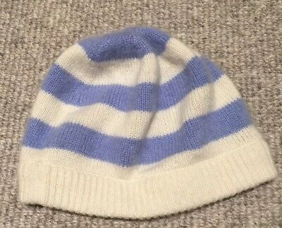 O-6 Month Cashmere Hat - pale blue and cream stripes