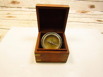 Vintage Nautical Gyroscopic Compass Mounted in Wooden Box