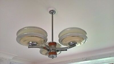 Art Deco three armed pendant ceiling light and matching wall lights