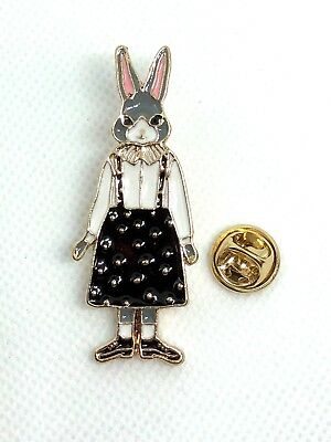 "RABBIT hat pin jewerly gold rhinestones gold tone.75""x2""   GIFT idea Easter #1"