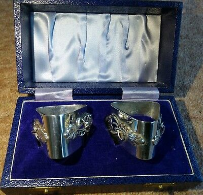 Boxed Matching Pair Hand Made Solid Silver Napkin Rings 1976 & 1977 - Free P&P!