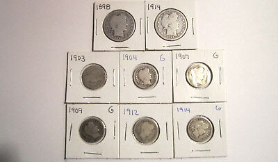 Barber coin lot AG-G Full Dates $1.10 Face Value Junk Silver ?
