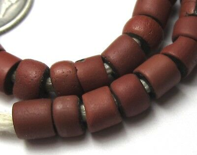 41 Rare Small Amazing Old Brick Red Venetian Greenheart Antique Beads 1700's