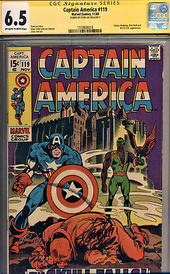 Captain America #119 Cgc 6.5 Ss By Stan Lee~Falcon Appearance, Red Skull,modok!