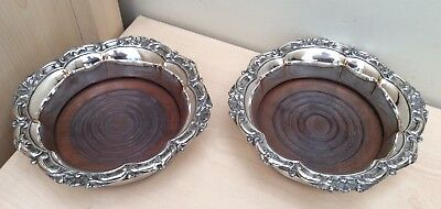 Antique Old Sheffield Plate Pair of Wine Coasters - Waterhouse & Co