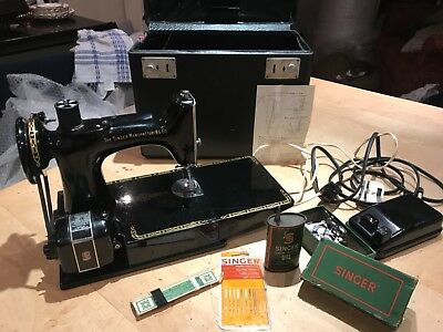 Vintage Singer 221k Portable Sewing Machine w/accessories fully working 15% OFF