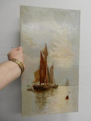 really old painting oil SEA sail boats