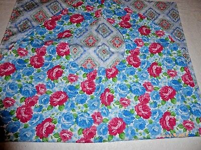 "Adult Bibs / cover-ups for adults, seniors, disabled/ bibs; ""Red and Blue Roses"""