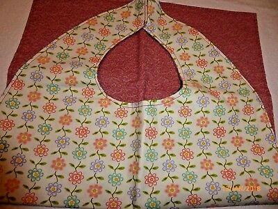"Adult Bibs / cover-ups for adults, seniors, disabled/ bibs; ""Cream/salmon Daisy"""