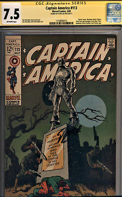 Captain America #113 Cgc 7.5 Ss Stan Lee~Classic Steranko Cover! Black Panther!