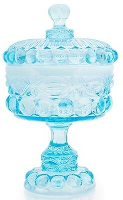 Covered Compote / Large - Eyewinker - Aqua / Blue Opalescent Glass - Mosser USA