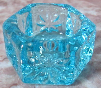 Salt Cellar Dip - Hexagon - Sapphire Blue Glass - USA