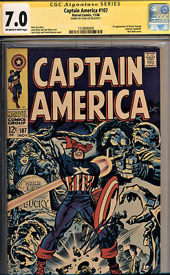 Captain America #107 Cgc 7.0 Ss By Stan Lee~Jack Kirby Art~1St App Dr Faustus~