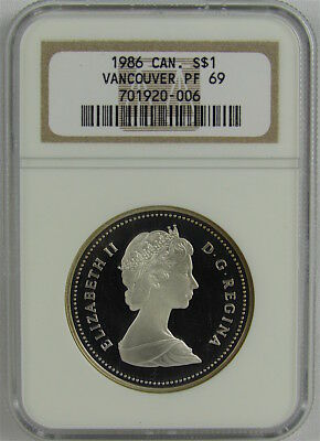 Canada 1986 Vancouver Proof Silver Dollar Ngc Pf69