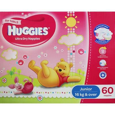 HUGGIES PK60 ULTRA DRY NAPPIES JUNIOR FOR GIRLS 16kg & OVER 100% Brand New