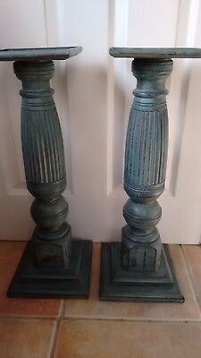Antique Victorian Wooden Pair of Large Candlesticks or display plinths columns