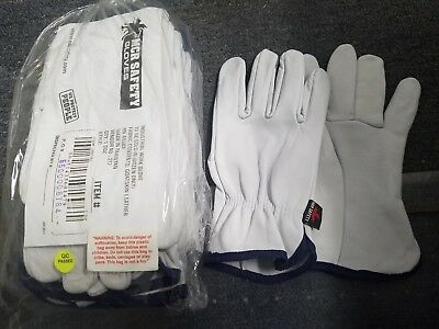 12 Pair Pack, Goat Skin Grain Leather Drivers, work MCRsafety gloves XL
