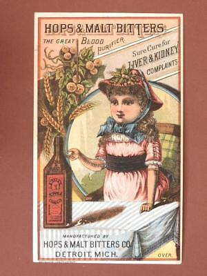 Hops & Malt Bitters The Great Blood Purifier Detroit Victorian Trade Card