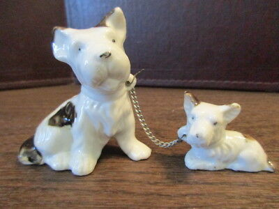 Vintage Ceramic Figurine - Chained Westie - Terrier - Mama & Baby - Dogs - JAPAN