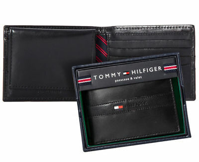 Mens Tommy Hilfiger Black Ranger Passcase Billfold Wallet Genuine Leather Boxed
