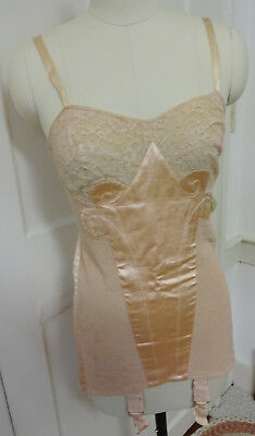 Lovely Vintage 1930s Paris Peach Satin Charmis Corset French