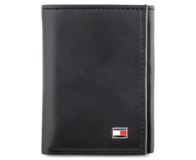 Mens Tommy Hilfiger Black Oxford Slim Trifold Wallet Genuine Leather Gift Boxed