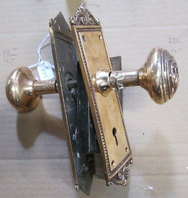 Complete Set Highly Polished Brass Victorian Door Knob Combination W/ Lock # 233