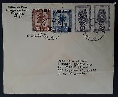 1950 Belgian Congo Cover ties 4 stamps canc Irumu to Los Angeles USA
