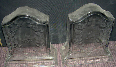 SINCLAIRE GLASS BOOKENDS VERY RARE ANTIQUE 1900's SIGNED SCHREWSBURY MUSEUM SALE