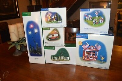 Department 56 Snow Village Uncle Sam's Fireworks Stand Plus More