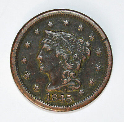 1845 BRAIDED HAIR LARGE CENT - .99c START, NO RESERVE - L@@K!!