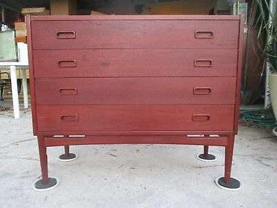 1950s DANISH MODERN TEAK ENTRY STORAGE CHEST Table Mini Bar Vintage $50 NR