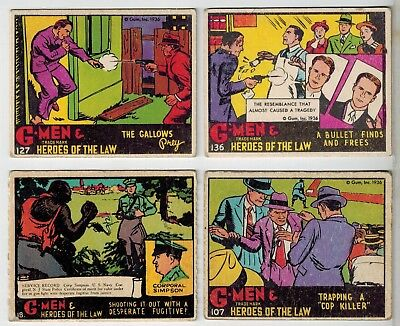 Gum Inc 1936 - G-Men and Heroes of the Law  - Collector Cards 18, 107, 127, 136