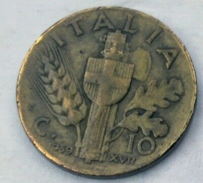 10 centimes 1939 italy