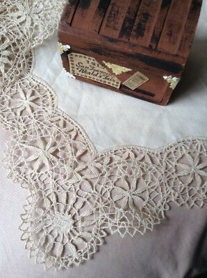2 Piece Vintage Antique Handmade Needle Lace Tray Cloth Placemats Hand Stitched