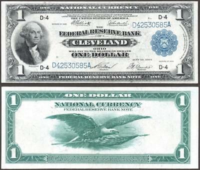 1918 $1~Large Size~National Currency Note Cleveland~ Crisp Almost Uncirculated