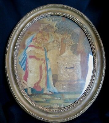 Antique 18 & 19 C Colifichet Mourning Scene Embroidery Women Shakespeare Tomb