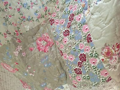 French Country Shabby Chic Throw Quilt Rug Blanket Pastels Floral Reversable