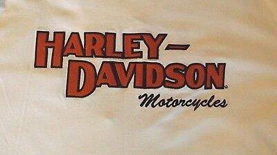 Vintage 2Xl White Harley Davidson Long Sleeve Hd Stitched Logo Crew Neck T Shirt