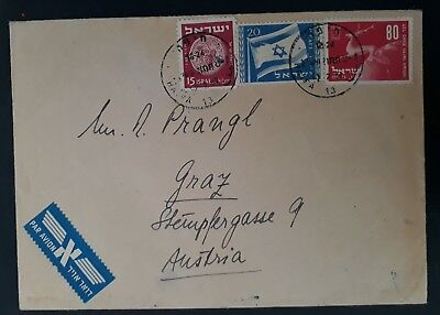 1952 Israel Airmail Cover ties 3 stamps cancelled Haifa to Graz Austria