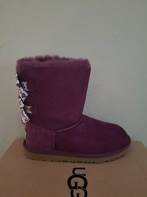 640f9eeb5d5 GIRLS UGG AUSTRALIA-BAILEY BOW PURPLE EMBROIDERED SIZE 4 NIB ...