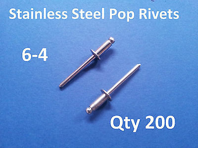 "Qty 200 POP RIVETS STAINLESS STEEL BLIND DOME 6-4 4.8mm x 10.8mm 3/16"" 304ss"