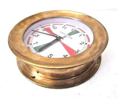 LARGE - SHIP'S CLOCK – Marine RADIO ROOM Clock – BRASS - BOAT / NAUTICAL(5007A)