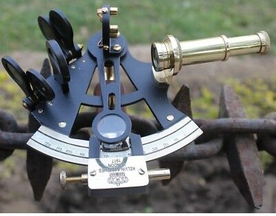 Antique Nautical Sextant in Black Powder Coating 4 Inch Brass Marine Navy Device