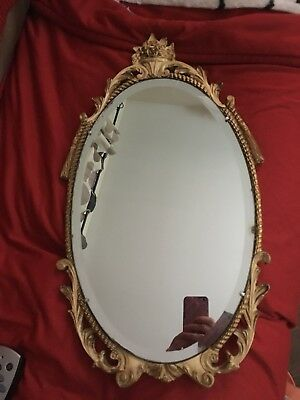 Atsonea Vintage Ornate Oval  Mirror Gilt Plaster 1950/1960s 28 Inches