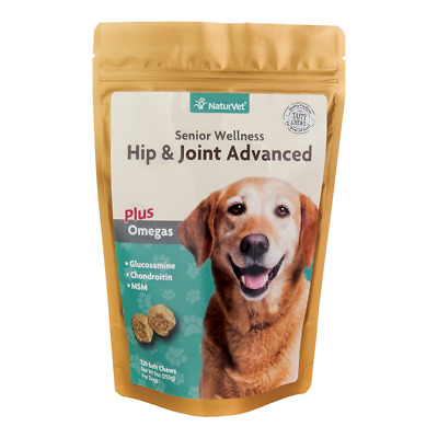 NaturVet Senior Wellness Hip/Joint Advanced + Omegas for Dogs 120 ct Soft Chews