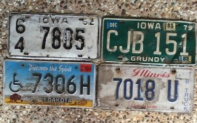 Even 4 Road Kill Number Plates From Different American States