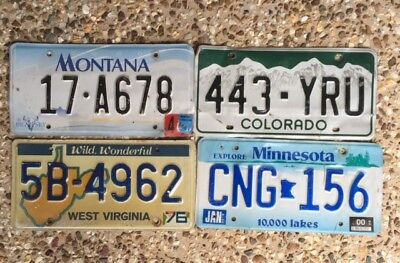4 Fair Condition American Number Plates From Different States